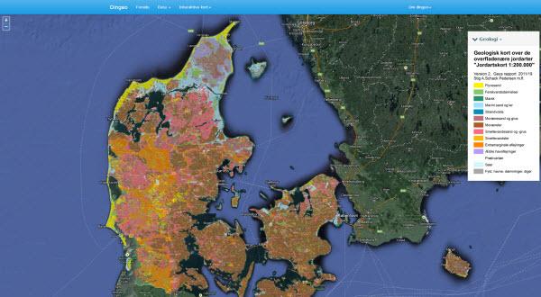 https://www.dingeo.dk Danmarks Geologi på interaktivt kort